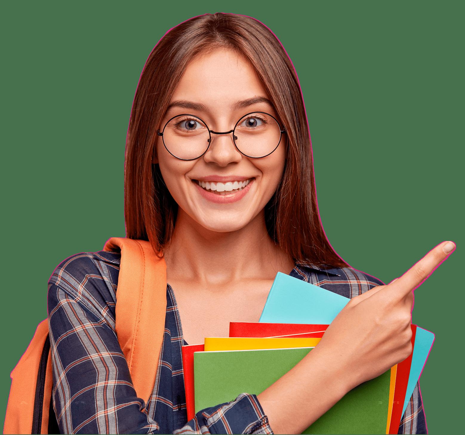 Estudante apontando para o formulário